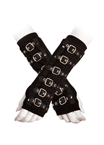 Womens Goth Black Buckle Armwarmer -