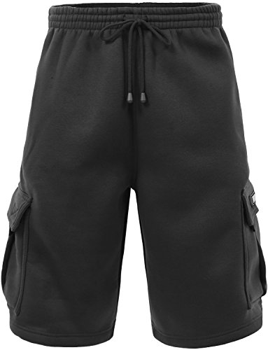 J. LOVNY Men's Comfy Fit Summer Drawstring Fleece Cargo SweatShorts M-5XL -