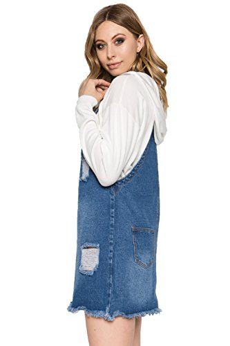14b8e3d0d51 TwiinSisters Women s Casual Denim Destroyed Overall Dresses for Women Plus  (Small