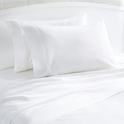 Mayfair Linen 100% Egyptian Cotton 400 Thread Count Percale Weave 4 Piece Sheet Sets - White King(1 Flat Sheet, 1 Fitted Sheet and 2 Pillow Cases) ()