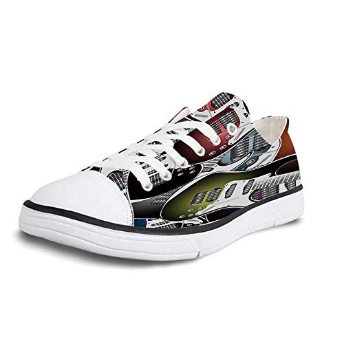 Canvas Sneaker Low Top Shoes,Popstar Party Pile of Graphic Colorful Electric Guitars Rock Music Stringed Instruments Decorative Women 12/Man 9