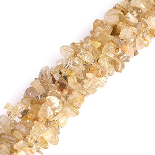 - 7-8mm Gold Rutilated Quartz Chips Beads for Jewelry Making Natural Gemstone Semi Precious 34