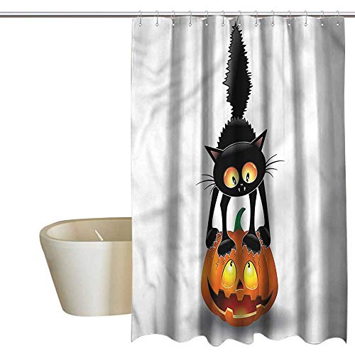 Denruny Shower Curtains Leopard Halloween,Cartoon Animal on Pumpkin,W48 x L84,Shower Curtain for Women -