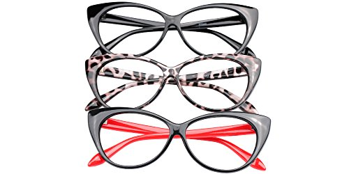 SOOLALA 3-Pair Value Pack Fashion Designer Cat Eye Reading Glasses for Womens, 2.0D