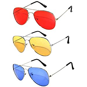 3 Pack Aviator Sunglasses UV Protection Color Lens Metal Frame Unisex (3-pack-avi-red-yell-blu, Colored)