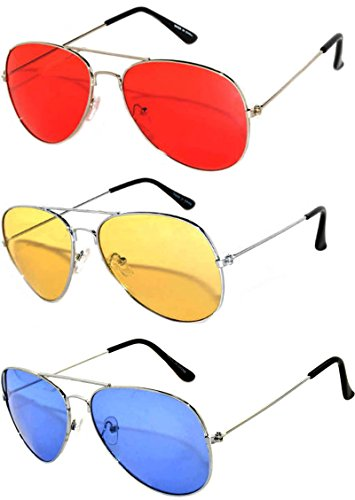 3 Pack Aviator Sunglasses UV Protection Color Lens Metal Frame Unisex (3-pack-avi-red-yell-blu, - Aviator Sunglasses Colored
