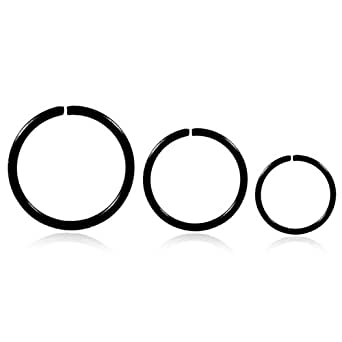 Niome 1Pc Stainless Steel Nose Ring Earbone Ring Punk Jewelry 10mm Black