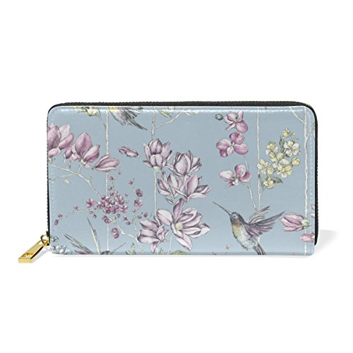 And Organizer Handbags TIZORAX Wallet And Clutch Birds Purses Flowers 7 Around Pattern Vintage Zip Hummingbirds Womens ttnpvq8T