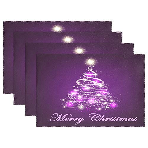 Merry Christmas Tree Shine Stars Placemats Set of 6 Table Mat, Purple Christmas Tree Winter Snow Table mats Placemats Heat-resistant Stain Resistant Washable for Kitchen Dining Decoration 12″ x 18″