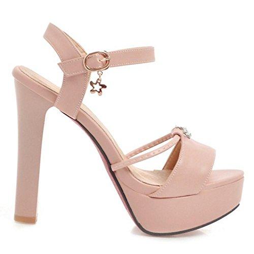 Pink TAOFFEN Heel Summer Ankle Women Sandals 1 Stiletto Strap Shoes 66q48
