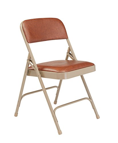 National Public Seating 1200 Series Steel Frame Upholstered Premium Vinyl Seat and Back Folding Chair with Double Brace, 480 lbs Capacity, Honey Brown/Beige (Carton of 4)