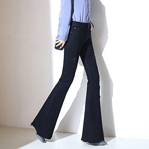 Jeans Slim la Size J Pantalone 27 Vita Micro Bordi Con Sottili Nero corno Pantaloni Corno Alta Micro color A Black Foro Black vvrzqHxa