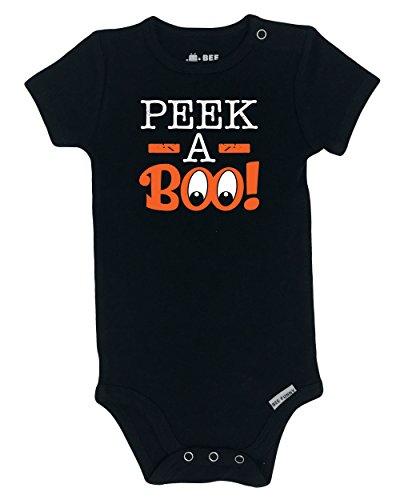 Bee Funny Baby Halloween Onesie | Peek-A-Boo, Black, 3-6 (Halloween Baby Onesie)