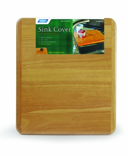 Camco Sink (Camco Oak Accents RV Sink Cover- Adds Additional Counter and Cooking Space in Your Camper or RV Kitchen - Oak Wood Finish (43431))