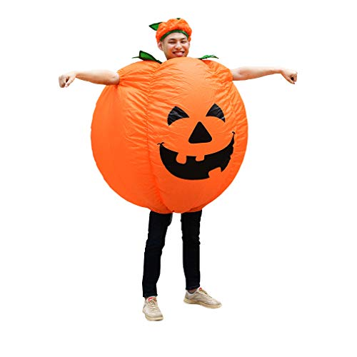 Halloween Pumpkin Inflatable Costume Blow up Funny Fancy Costume for Adult/Children Yellow -