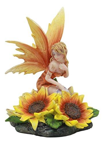 Ebros Yellow Spring Blossom Sunflower Fairy Statue 5
