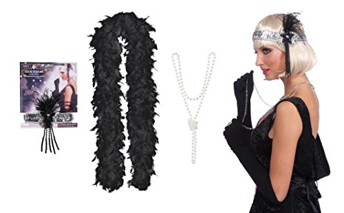 1920s Flapper Pearl Necklace, Black Boa and Headband by Express Novelties Online (Great Gatsby Costumes For Men)