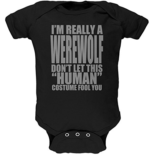 Couple Costume Wolf (Halloween Human Werewolf Costume Black Soft Baby One Piece - 3-6 months)