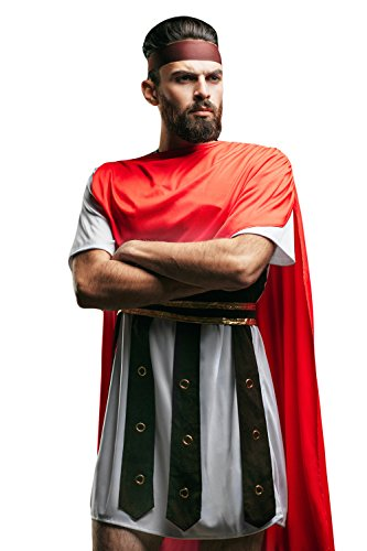 Adult Men Roman Warrior Costume Hercules Spartacus Gladiator Dress Up Role Play (Medium/Large, Red, White, (Roman Gladiator Clothes)