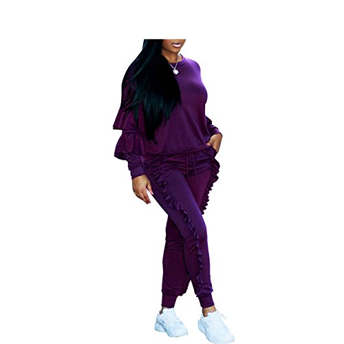 Jumpsuit Ruffles Long O Neck Winter for Women Jumpsuits Outfits Purple XXL by nboba jumpsuits