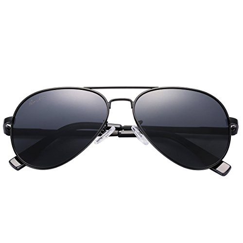 Pro Acme Small Polarized Aviator Sunglasses for Adult Small Face and Junior,52mm Black Frame/Black Lens