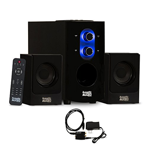 Acoustic Audio AA2130 Bluetooth Home 2.1 Speaker System for Multimedia with Digital Optical Input by Acoustic Audio by Goldwood