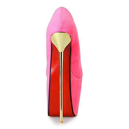L@YC Frauen High Heels mit Offenen Zehen Wildleder 23CM Party & Abend Rosa/Lila/Schwarz Pink