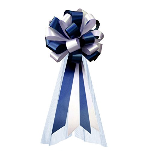 Navy Blue and White Wedding Pew Pull Bows with Tulle Tails - 8
