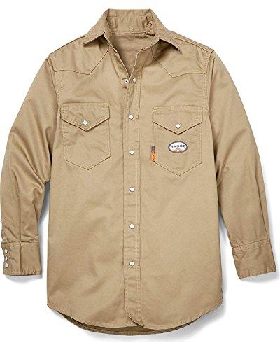 Rasco Fire Retardant KHAKI Shirt FR Western with Snaps 7.5 oz, Khaki, 2XL-Reg