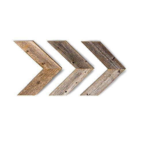 BarnwoodUSA Farmhouse Wood Arrows for Wall - Set of 3 Rustic Chevron Arrows Made from 100% Reclaimed and Recycled Wood | Comes with Mounting Hardware - Barnwood Farmhouse