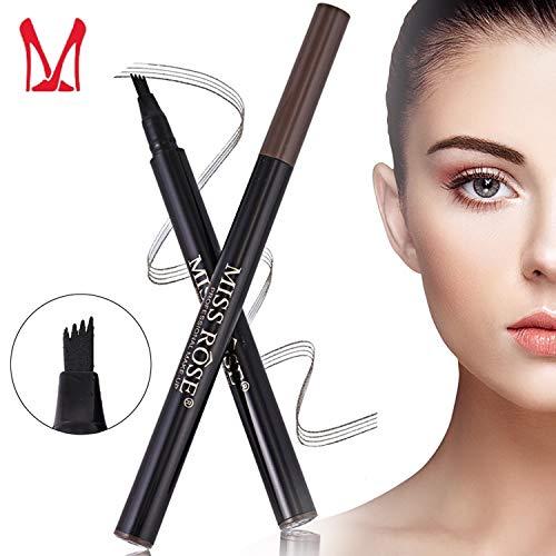 Ladygo 3D Eyebrow Tattoo Pen, Microblading Eyebrow Marker Pencil 4 Fork Tips Liquid Blonde Eye Makeup, Long-lasting Waterproof Smudge Proof Natural Look (01# - Dark Gray)