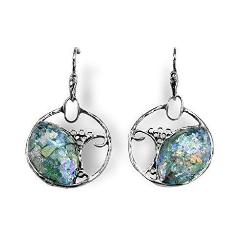 Ancient Roman Glass Earrings Tree Design Sterling Silver Handmade in Israel by AzureBella Jewelry
