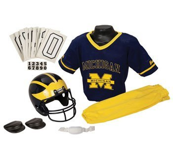 [Michigan Wolverines NCAA Youth Helmet and Uniform Set by Franklin - Small] (Make Shoulder Pads Football Costume)