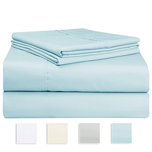1000 Thread Count Sheet Set, 100% Long-staple Cotton Light Blue Queen Sheets, Sateen Weave Bedsheets, Stylish 4-inch hem, Upto 17 inch Deep Pockets by Pizuna Linens (100% Cotton Sheet Set, Blue (17 Deep Pocket)