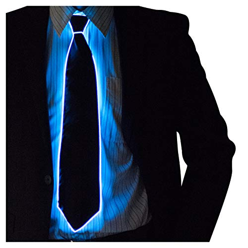 Neon Nightlife Light Up Neck Tie for Men, Blue -