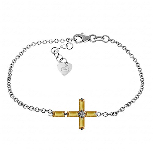 ALARRI 1.15 Carat 14K Solid White Gold Cross Bracelet Natural Citrine Size 7 Inch Length by ALARRI