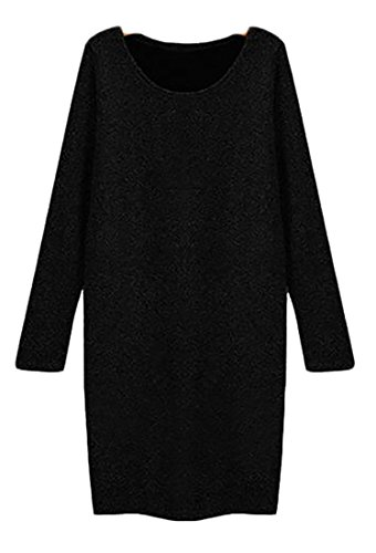 Casual Sleeve Cromoncent Round Dress Womens Classic Neck Black Long Plus Size f6n51qnU