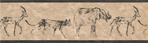 Black Cream African Animals Wallpaper Border 016133 NA