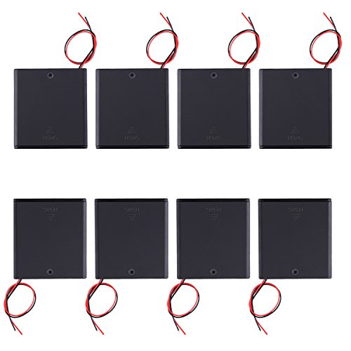 8 pcs Balpha 4X 1.5V AA Battery Holder Case Box With Cover & ON/OFF Switch Wires Leads 8 PACK(8x 4aa)