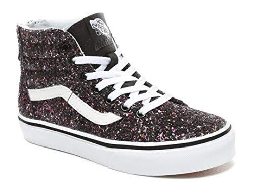 Vans Kids Girl's Sk8-Hi Zip (Little Kid/Big Kid) (Glitter Stars) Black/True White 12.5 M US Little - Top Kids High Vans