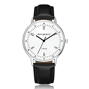 Bergmann 6mm Extra Thin Men's Watches Large Case Black Leather White Dial Vintage Watch 1933