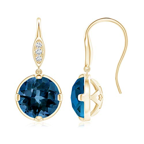 London Blue Topaz Fish Hook Earrings with Diamond Accents in 14K Yellow Gold (8mm London Blue Topaz)