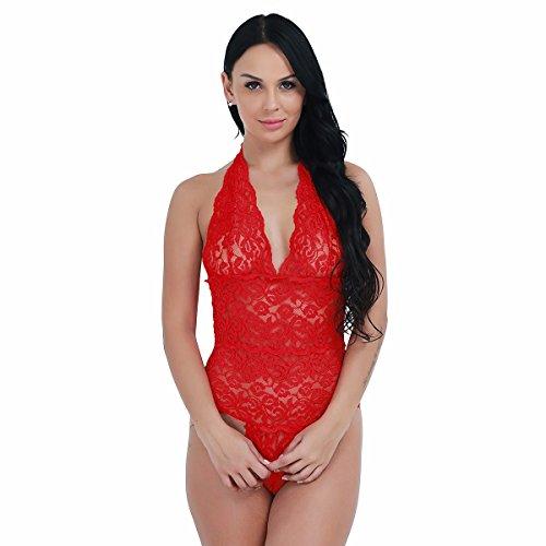 Freebily Body Pijama Lencería Encaje Floreado para Mujer Ropa de Dormir Noche Rojo