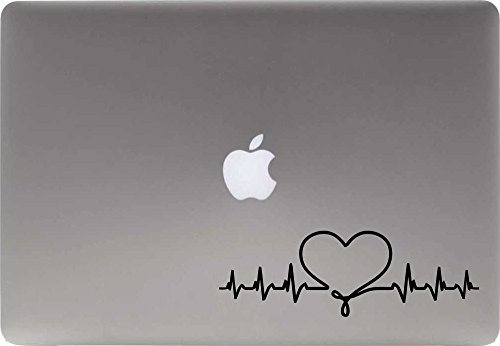 Heartbeat Heart Version 1 Vinyl Decal Sticker for Computer Macbook Laptop Ipad Electronics Home Window Custom Walls Cars Trucks Motorcycle Automobile and More (Black)