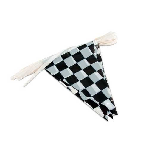 Black and White Checkered Poly Streamers