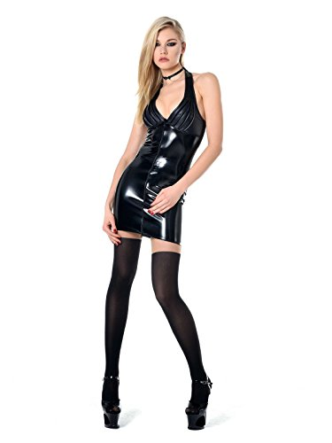 aus Minikleid Fanny Schwarz Damen Lack Schwarzes Schwarz Stretch Lackkleid Kleid PYwZqxE