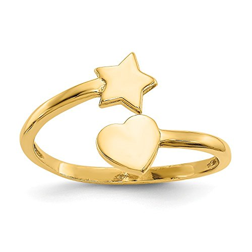 Solid 14k Yellow Gold Heart & Star Toe Ring (1mm) - Heart Solid Toe Ring