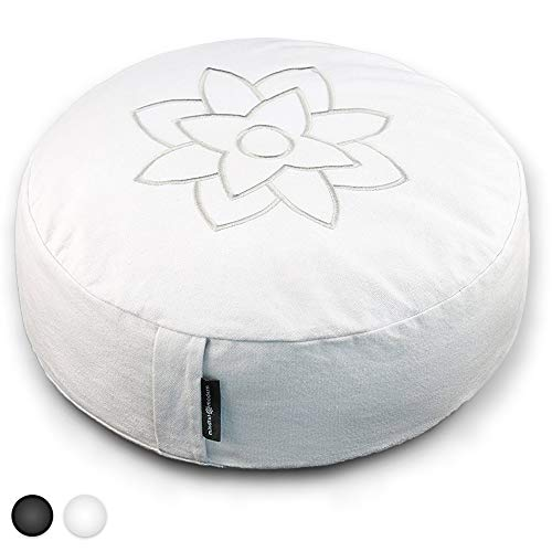 Mindful and Modern Large White Zafu Meditation Cushion - Yoga Floor Pillow for Best Posture -...