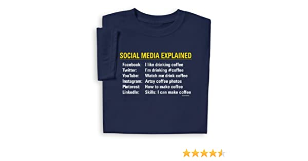 55f3a326d65a Amazon.com: ComputerGear Funny Social Media Explained T Shirt Facebook  YouTube Tee: Clothing