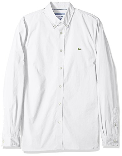 Lacoste Men's Long Sleeve Solid Poplin Stretch Collar Slim Woven Shirt, CH5816, White, (Button Down Stretch Woven Shirt)